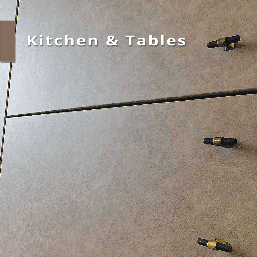 Kitchen and tables with leather