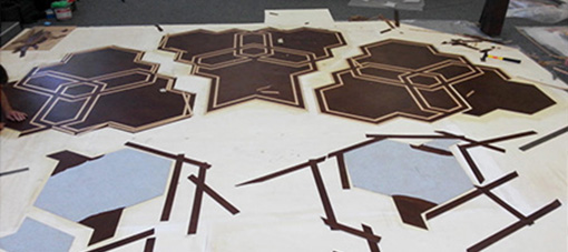 Preparation inlaid leather floor