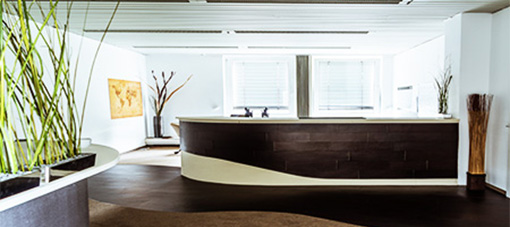 Reception counter with leather and leatherflooring
